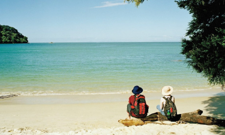 Backpackers take in New Zealand's South Island's view