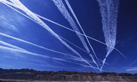 Plane vapour trails in the sky