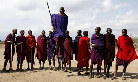 Maasai warriors perform a traditional dance