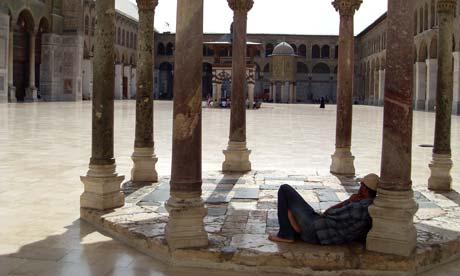 Inside the Umayyad Mosque in Damascus, Syria