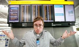 Danny Wallace at Heathrow airport
