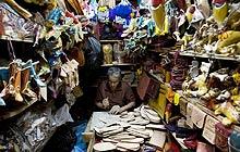 A slipper-maker in the Fes medina