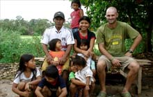 Ed Stafford with local people on his Amazon walk