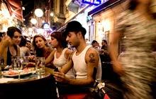 Drinking in a coffee shop in Beyoglu, Istanbul, Turkey
