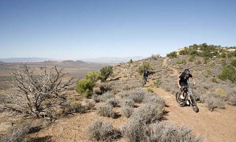 Susan Greenwood mountain biking in Gooseberry Mesa, Utah, US