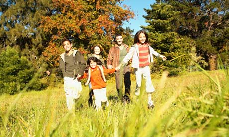 Family on holiday in autumn