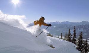 Skier hitting powder stash