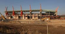 Nelspruit's Mbombela stadium during construction work in July