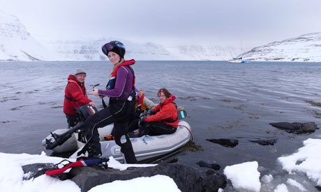 Iceland, Westfjords: All aboard ... the ski party travels from the Aurora to the slopes by dinghy