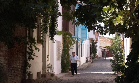 Cobbled streets in Bozcaada, Turkey