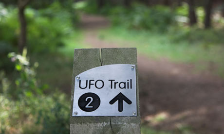 Sign for UFO trail in Rendlesham Forest, Suffolk, UK