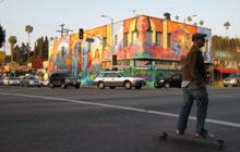 Skateboarder at Echo Park, Los Angeles, California