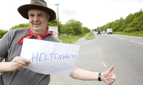 Stephen Moss in Oxford, hitchhiking to the Guardian Hay Festival
