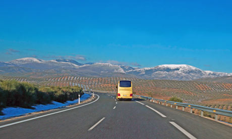 Bus on the motorway, Spain