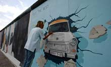 Trabant mural on the East Side Gallery in Berlin