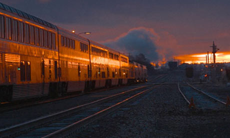 Sunrise behind a train in Arizona