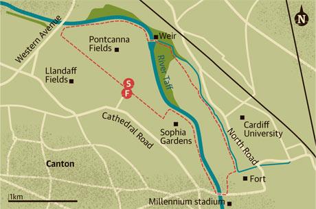Walking map of River Taff, Cardiff