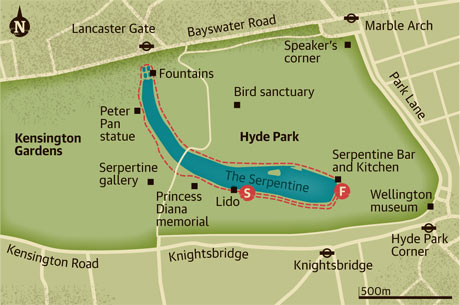 Walking map of Hyde Park, London