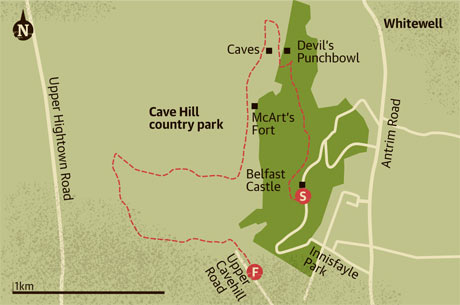 Walking map of Cave Hill country park, Belfast
