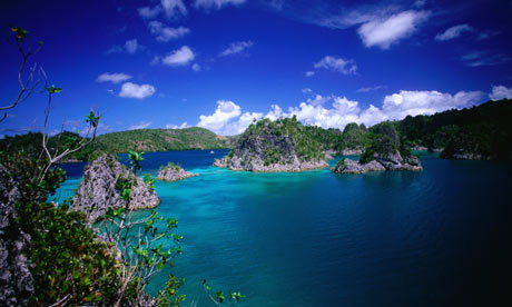 Rock islands in Raja Ampat bay.