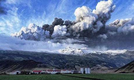 Volcanic ash rises from Eyjafjallajokull glacier in Iceland