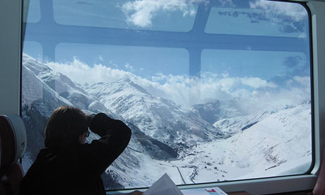 Travelling on the Glacier Express to St Moritz