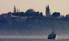 The Bosphorus and the front of Hagia Sophia Museum in Istanbul, Turkey