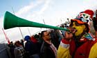 South Africa football fan blows a vuvuzela horn near Cape Town