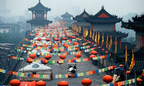 Xian, China Street Decorated with Lanterns and Flags