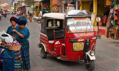 Tuk-tuk in street, Panajachel, Guatemala