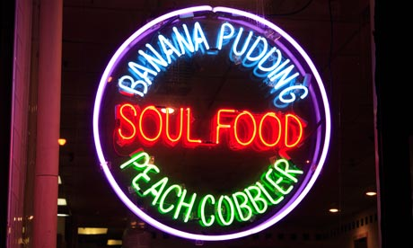Neon sign for Soul Food, Harlem