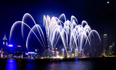 Fireworks in Victoria Harbour, Hong Kong
