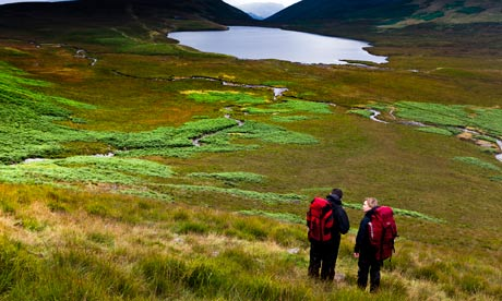 Hikers at Burnmoor Tarn