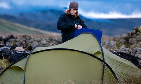 Pitching camp on Eskdale Moor