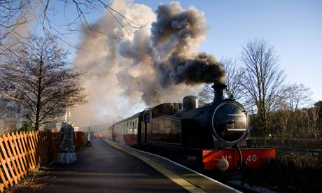 A steam engine at Frosterley Station, on the Weardale Railway in County Durham.