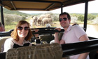 Janette Smith, with boyfriend Tony, encounter a family of elephants on safari in South Africa