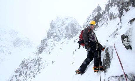 Ice climbing in Scotlanad