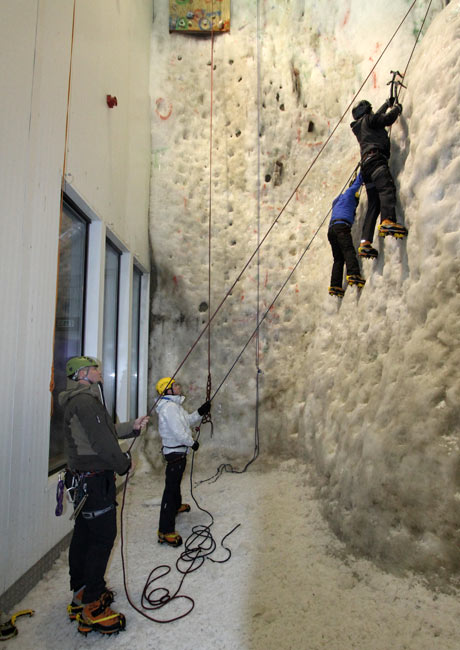 Starting out on the smaller ice wall at the Ice Factor