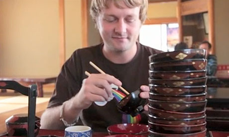 Jamie Lafferty eating Wanko Soba noodles in Hiraizumi