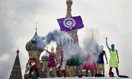 Pussy Riot protest at the Kremlin in Moscow. Photograph: Anna Artemeva/AFP/Getty Images