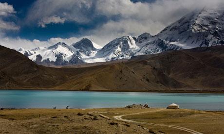 Karakul lake, below the Karakorum Pass in the Himalayas