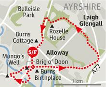 Alloway, Ayrshire walk graphic