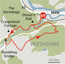 The Hermitage, Perthshire walk graphic