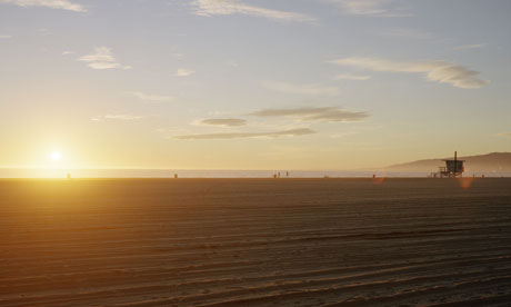 Santa Monica beach, the usual pull for Los Angeles tourists
