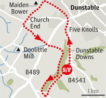 Dunstable Downs walk graphic