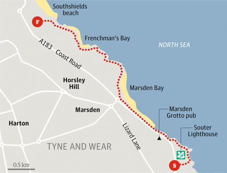 Souter Lighthouse to South Shields walk graphic
