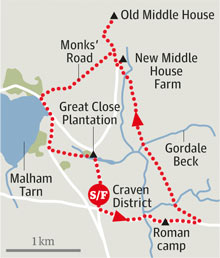 Malham tarn north yorkshire walk graphic