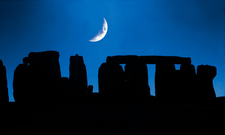 Cresent moon over Stonehenge