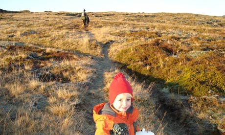 Heading for the hills … Tobias on a family walk in Iceland