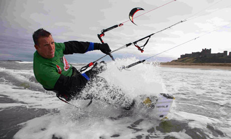 Kevin Anderson kitesurfing in Northumberland